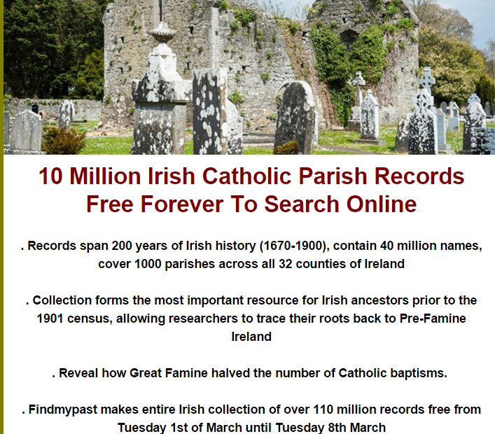 10 Million Irish Catholic Parish Records Free Forever to Search Online