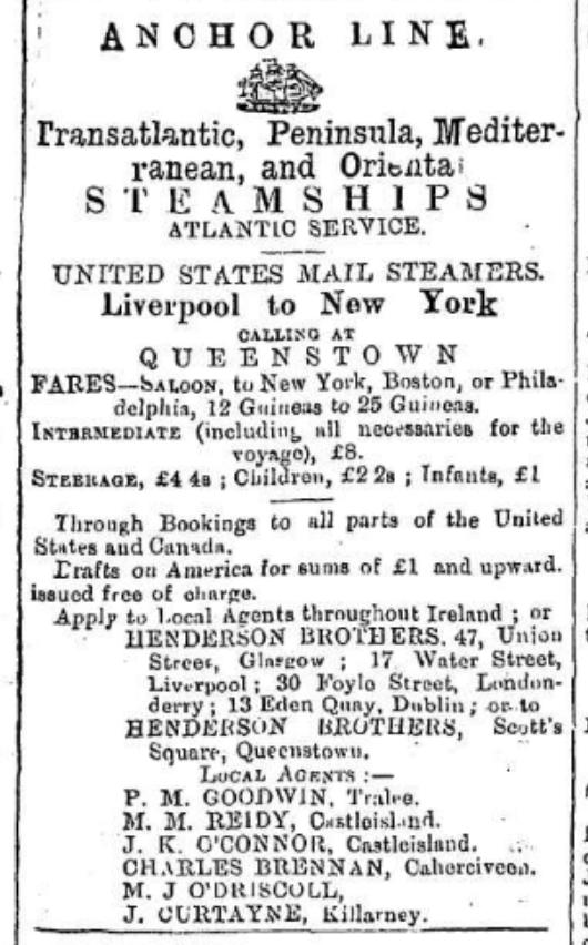 Fares Ireland to America 1884