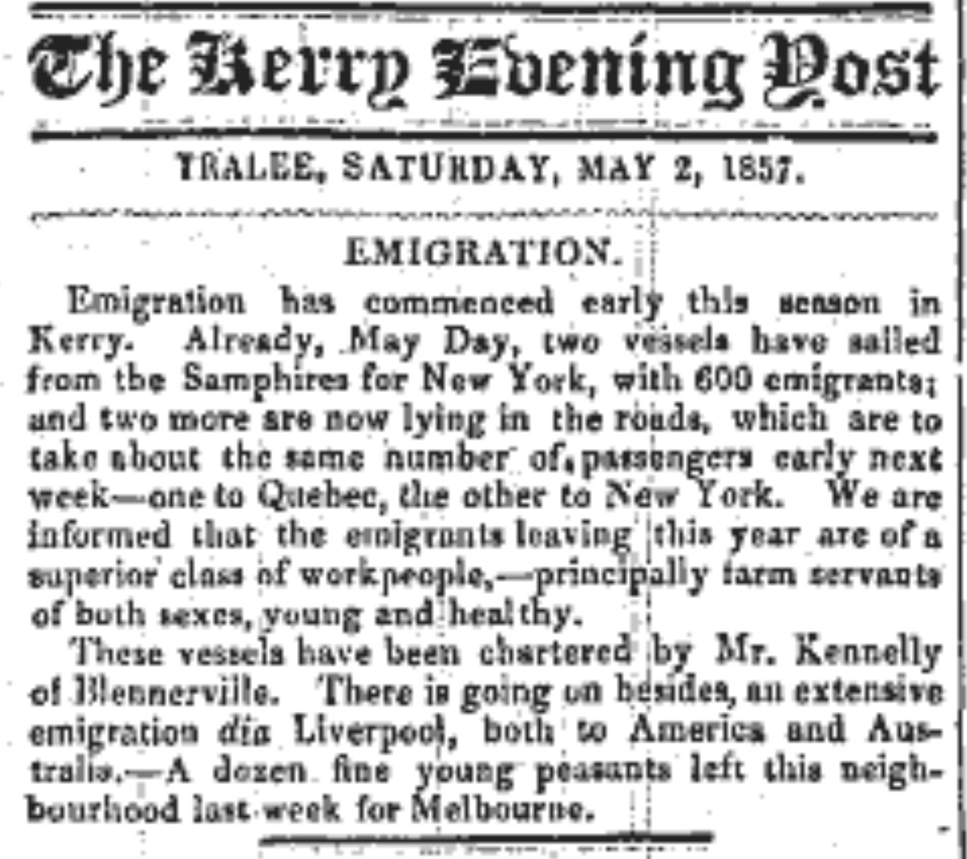 Kerry Emigration May Day 1857